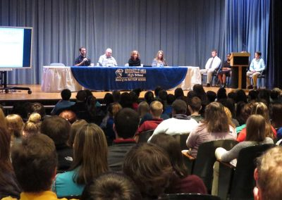 The Council coordinates career panels, including this one held at Minersville Area High School, that allow students an open forum to ask business professionals employment related questions.